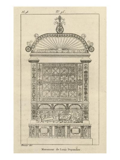 Musée des Monuments Français tome 3, par Alexandre Lenoir: planche 98: tombeau de Louis de-Charles Percier-Giclee Print