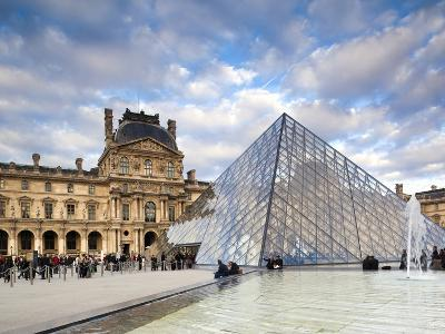 Musee Du Louvre Museum and the Louvre Pyramid, Paris, France-Walter Bibikow-Photographic Print