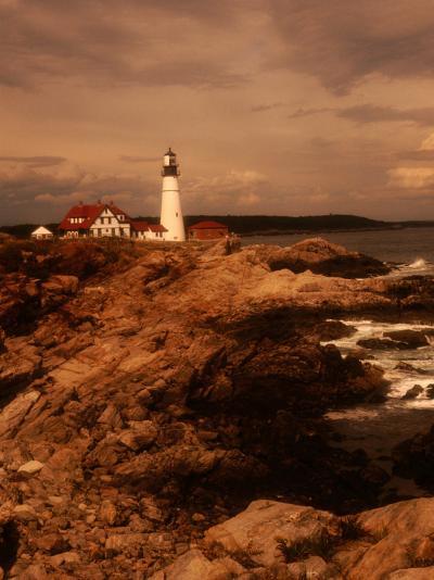Museum and Portland Head Light House at Cape Elizabeth, Portland, Maine, Portland, USA-Mark Newman-Photographic Print
