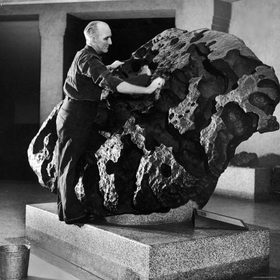 Museum Attendant Cleaning 14 Ton Willmette Meteorite, the Largest Found in the US-Jack Birns-Photographic Print