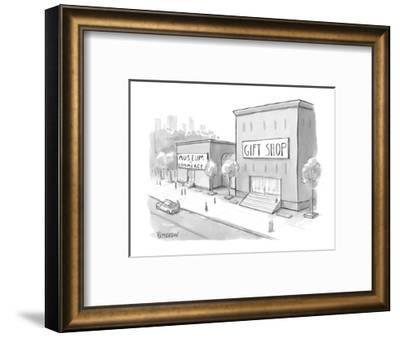 """""""Museum of Commerce"""" next to a """"Gift Shop"""" building that is twice as large? - New Yorker Cartoon-Jason Patterson-Framed Premium Giclee Print"""
