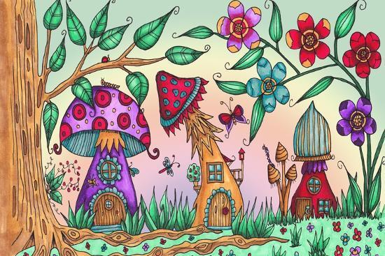 Mushroom Houses Coloured-Delyth Angharad-Giclee Print