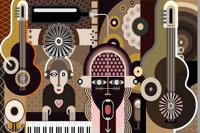 Music Background - Abstract Vector Illustration.-danjazzia-Art Print