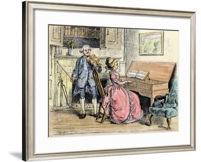 Music-Lesson in a Colonial Southern Plantation House--Framed Giclee Print