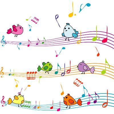 Music Note with Cartoon Birds Singing-hibrida13-Art Print