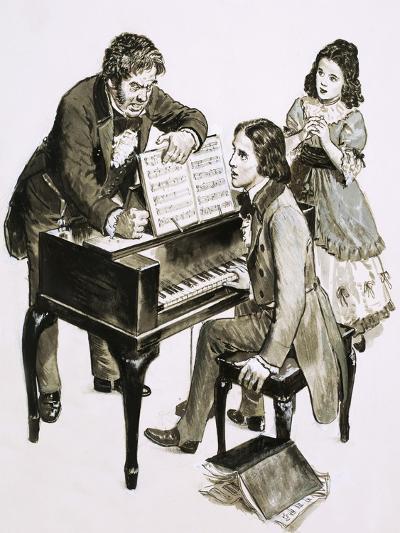 Music Teacher Friedrich Wieck Shouts at Robert Schumann While His Daughter, Clara Wieck, Looks On--Giclee Print