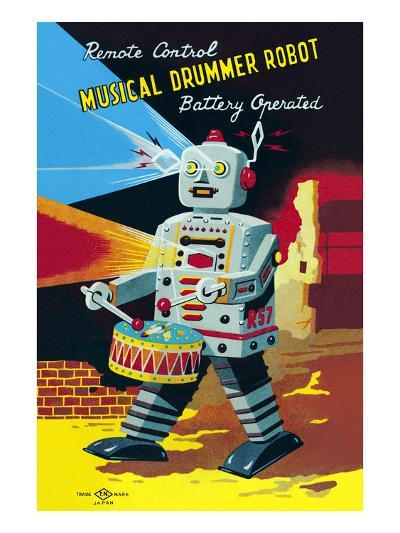 Musical Drummer Robot--Art Print