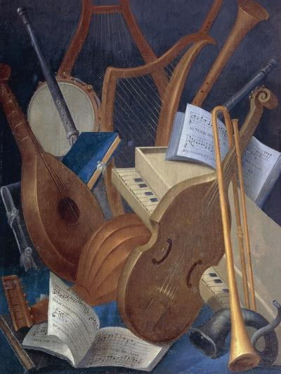 Musical Instruments, Detail from Allegory of Music, Panel Painting by Jean Mosnier--Giclee Print