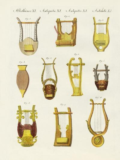 Musical Instruments of the Ancients -- Lyres and Zithers--Giclee Print