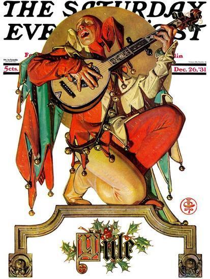 """Musical Jester,"" Saturday Evening Post Cover, December 26, 1931-Joseph Christian Leyendecker-Giclee Print"