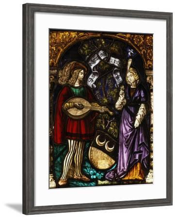 Musician and Lady, Stained Glass, Late 15th - early 16th Century Swiss--Framed Photographic Print