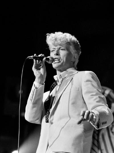 Musician David Bowie Singing on Stage--Premium Photographic Print