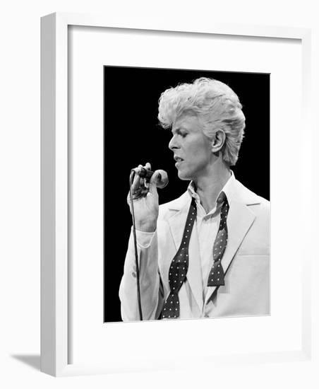 Musician David Bowie Singing on Stage-null-Framed Premium Photographic Print