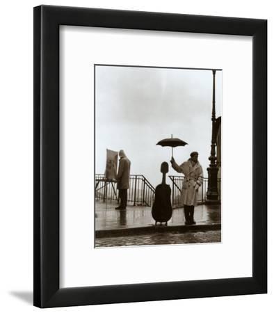 Musician in the Rain-Robert Doisneau-Framed Art Print