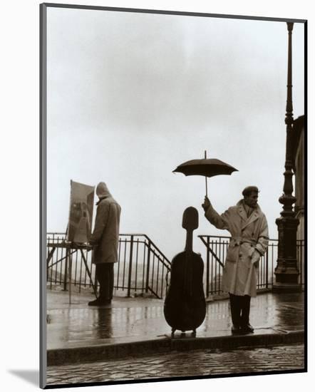 Musician in the Rain-Robert Doisneau-Mounted Print