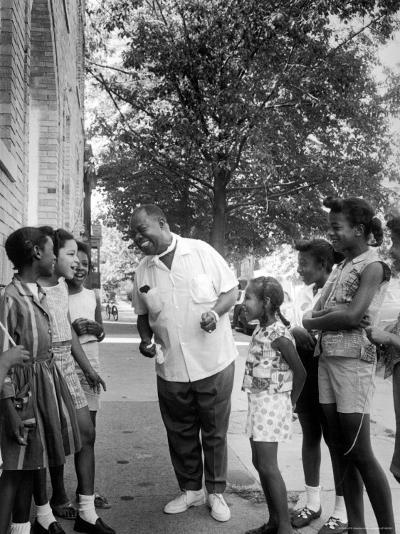 Musician Louis Armstrong with Neighborhood Kids-John Loengard-Premium Photographic Print
