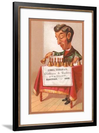 Musician Playing Bells--Framed Art Print