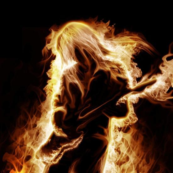 Musician With An Electronic Guitar Enveloped In Flames On A Black Background-Sergey Nivens-Premium Giclee Print