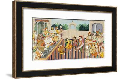 Musicians and Dancing Girls Perform Before Sher Singh, 1874-Bishan Singh-Framed Giclee Print