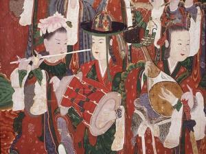 Musicians, from the Guardian Divinities, Coloured Silk, 1795, from Temple of Suguk-Sa, Korea