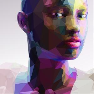 Low Poly Abstract Portrait of a Black Girl by musicman