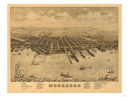 Muskegon, Michigan - Panoramic Map-Lantern Press-Art Print
