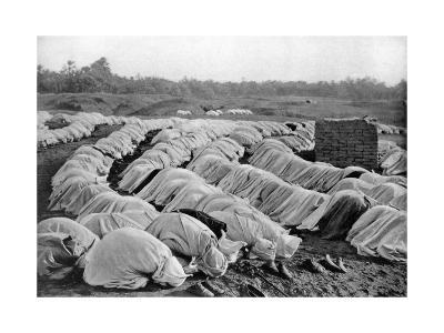 Muslims at Prayer, Algeria, 1920-Biskra Frechon-Giclee Print