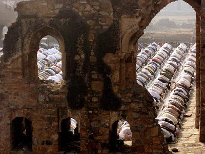 Muslims Offer Eid Prayers at the Ruins of Jami Mosque, Which was Built in 1345 AD-Manish Swarup-Photographic Print