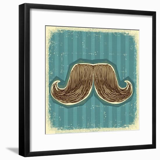 Mustaches Symbol Set On Old Paper Texture.Vintage Background-GeraKTV-Framed Premium Giclee Print