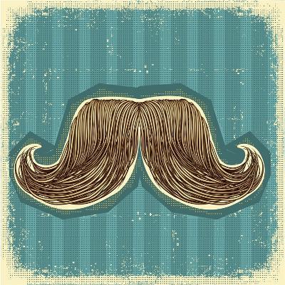 Mustaches Symbol Set On Old Paper Texture.Vintage Background-GeraKTV-Art Print