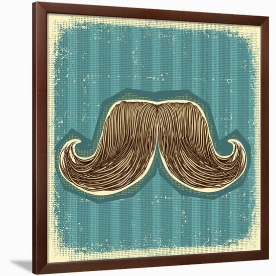 Mustaches Symbol Set On Old Paper Texture.Vintage Background-GeraKTV-Framed Art Print