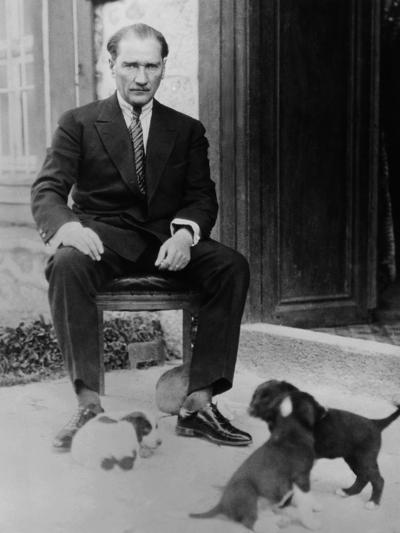 Mustafa Kemal Ataturk, President of Turkey, with His Pet Dogs, Ca. 1930--Photo
