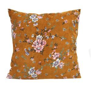 Mustard Floral Corduroy Pillow