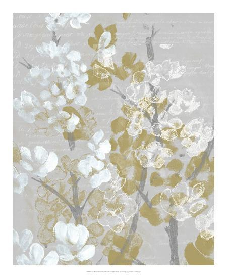 Mustard on Grey Blooms I-Jennifer Goldberger-Art Print