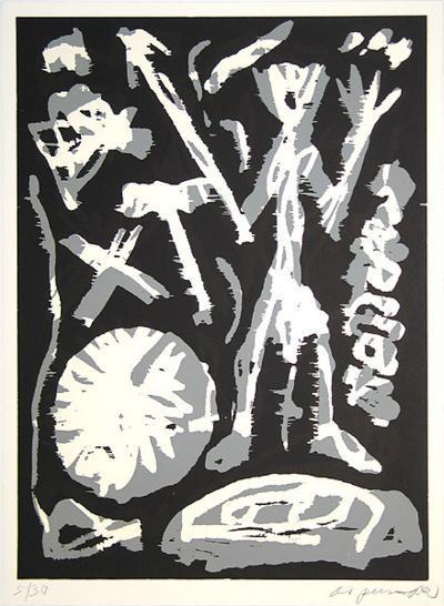 MVKS Grau-weiße Figur-A^ R^ Penck-Limited Edition