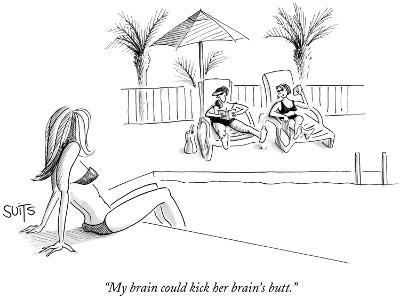 """My brain could kick her brain's butt."" - New Yorker Cartoon-Julia Suits-Premium Giclee Print"