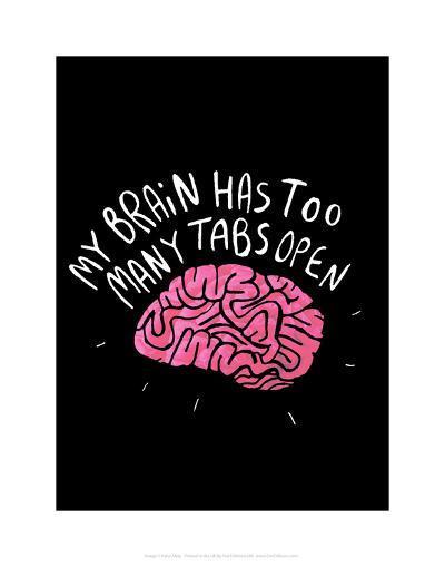 My Brain - Katie Abey Cartoon Print-Katie Abey-Art Print