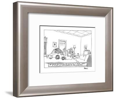 My Brand-New Electric Car Allows Me to Travel Freely To Almost All Four Co? - New Yorker Cartoon-Jack Ziegler-Framed Premium Giclee Print