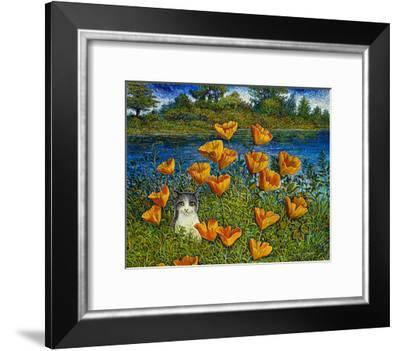 My Cat With Poppies-Robert Lyn Nelson-Framed Giclee Print
