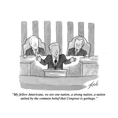 """""""My fellow Americans, we are one nation, a strong nation, a nation united ?"""" - New Yorker Cartoon-Tom Toro-Premium Giclee Print"""