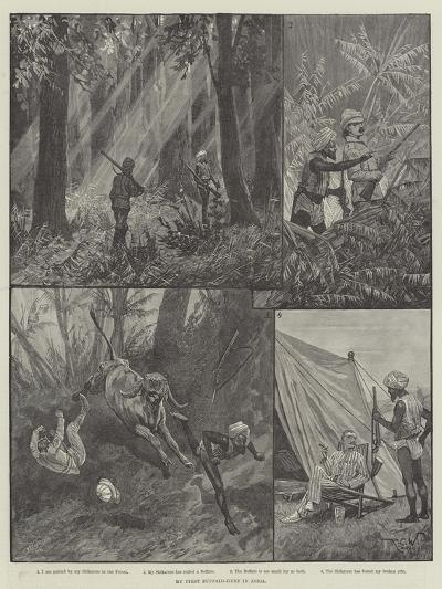 My First Buffalo-Hunt in India-Richard Caton Woodville II-Giclee Print