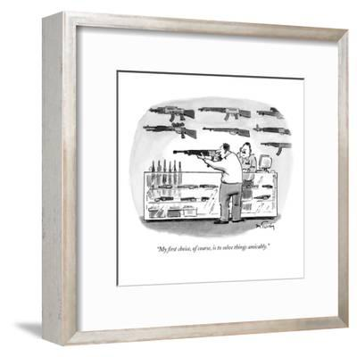 """""""My first choice, of course, is to solve things amicably."""" - New Yorker Cartoon-Mike Twohy-Framed Premium Giclee Print"""