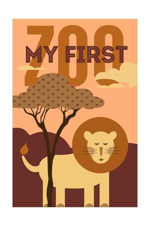 My First Zoo - Lion - Orange-Lantern Press-Art Print