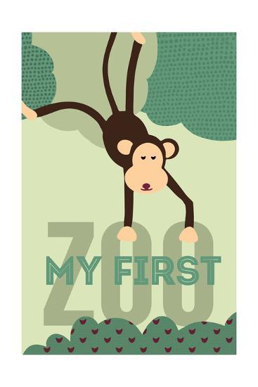 My First Zoo - Monkey - Green-Lantern Press-Art Print