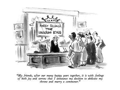"""""""My friends, after our many happy years together, it is with feelings of b?"""" - New Yorker Cartoon-Lee Lorenz-Premium Giclee Print"""