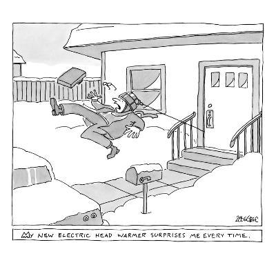 """My new electric head-warmer surprises me every time"" - New Yorker Cartoon-Jack Ziegler-Premium Giclee Print"