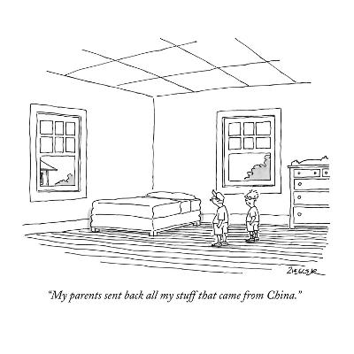 """""""My parents sent back all my stuff that came from China."""" - New Yorker Cartoon-Jack Ziegler-Premium Giclee Print"""