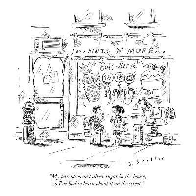 """My parents won't allow sugar in the house, so I've had to learn about it ?"" - New Yorker Cartoon-Barbara Smaller-Premium Giclee Print"