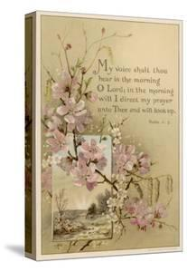 My Voice Shalt Thou Hear-- Text with Floral Ornament and a Rustic Scene