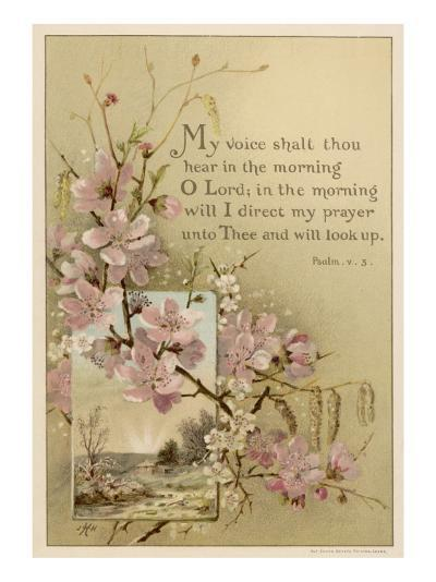My Voice Shalt Thou Hear-- Text with Floral Ornament and a Rustic Scene--Giclee Print